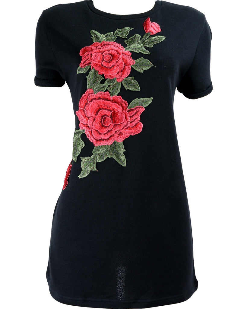 Better Be - Women's Rose Patches French Terry Tunic - V.I.M. - 1