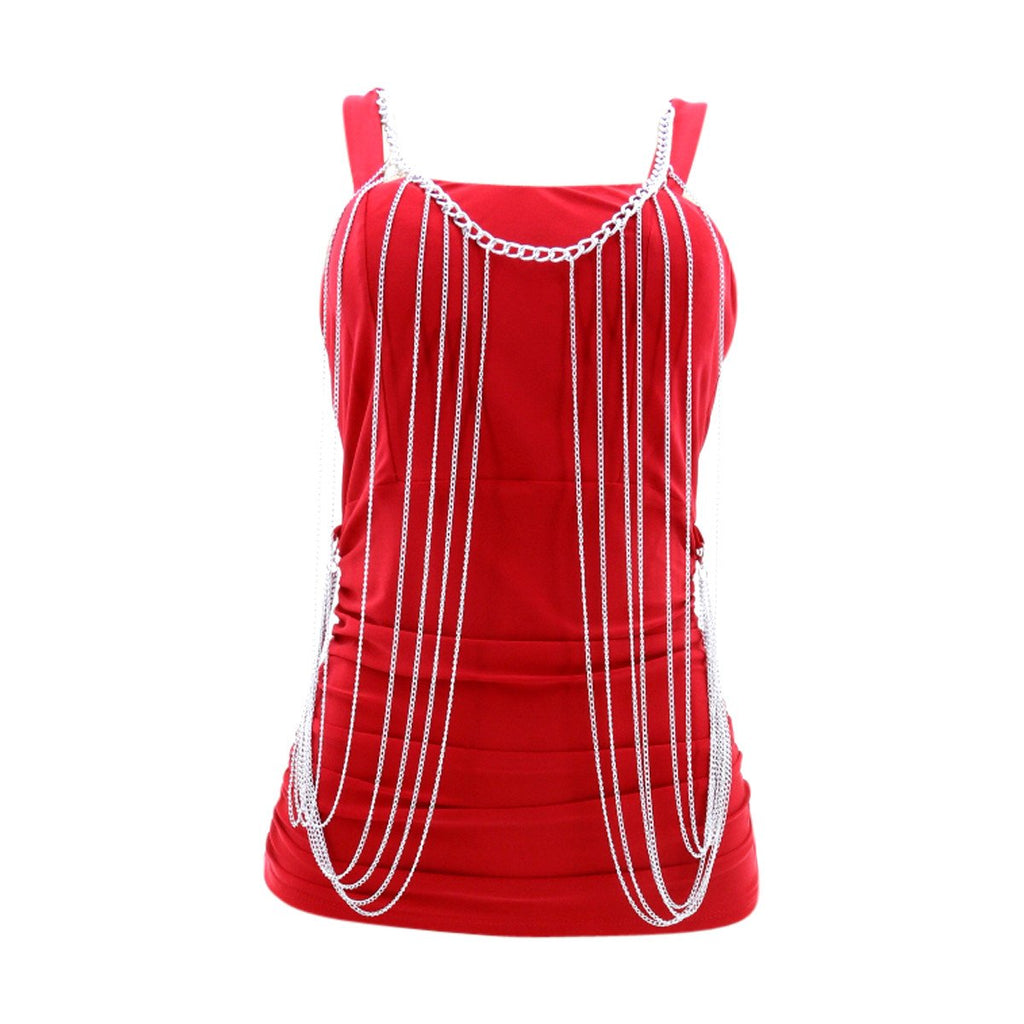 Fashion Magazine - Women's Chained Sleeveless Top - Red - V.I.M. - 1