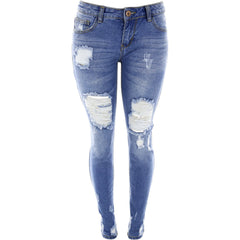 Destiny Apparel - Women's Rigis Rips Non Stretch Jeans - V.I.M. - 1