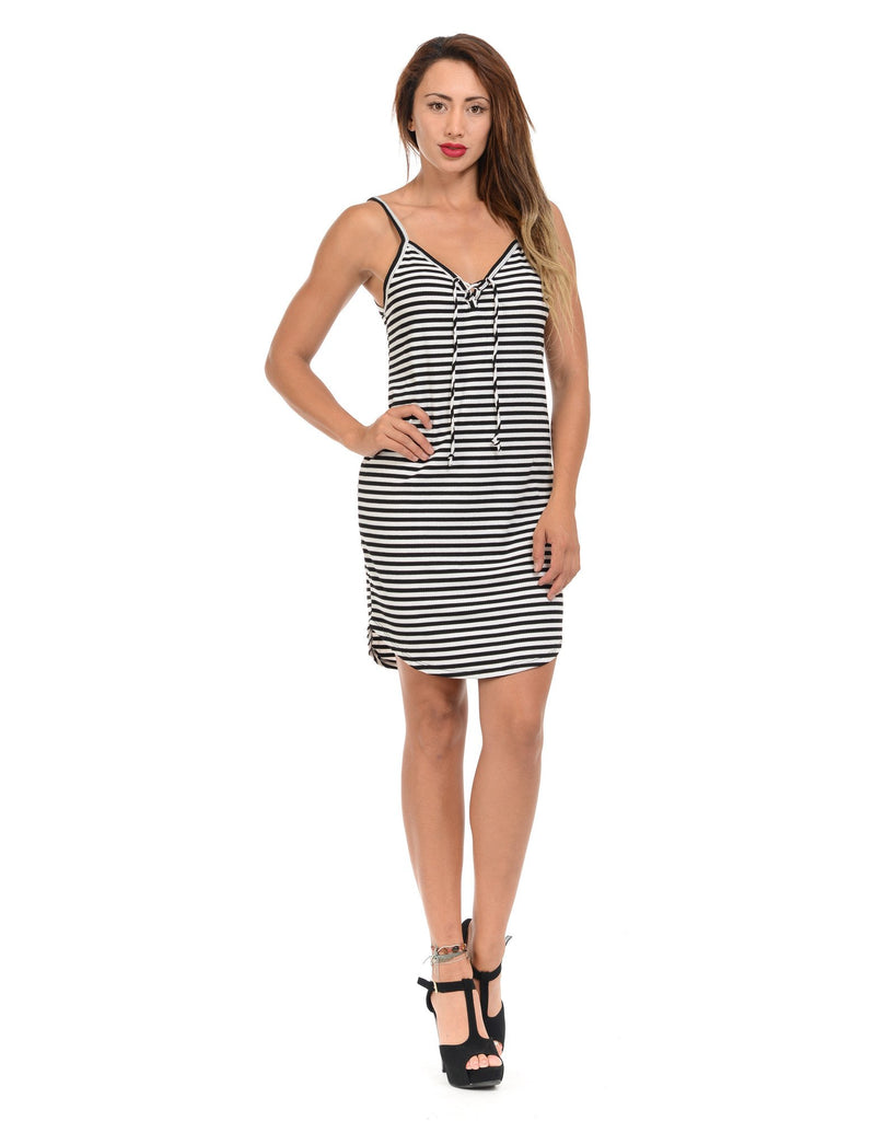 Ambiance - Women's Striped Lace Up Front Short Dress - V.I.M. - 1