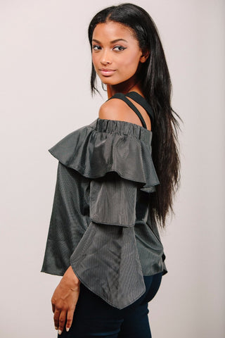 Stripe Ruffle Sleeve Off The Shoulder Top