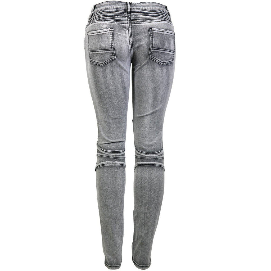 Bamboo - Women's Moto Cross Mended Patch Jeans - Grey - V.I.M. - 2
