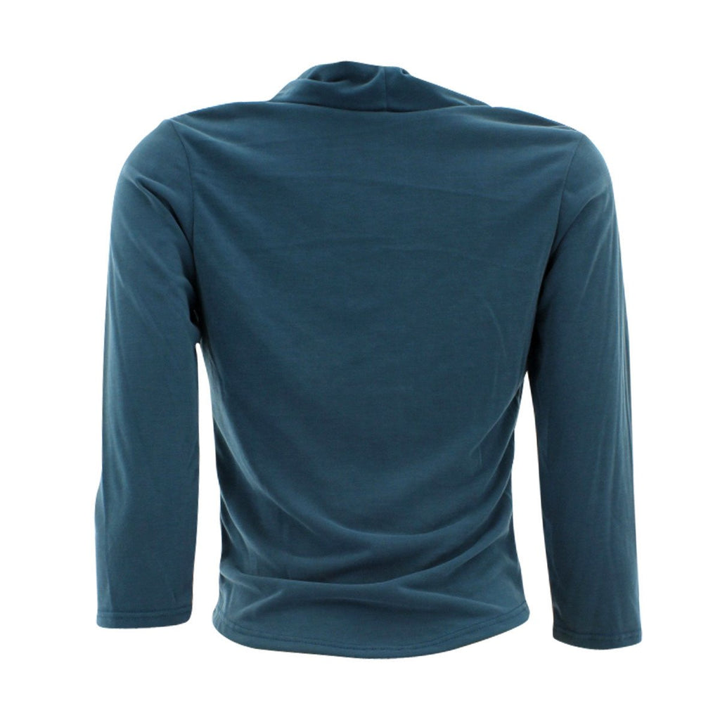 Fashion Magazine - Women's Long Sleeves Drape Neck Top - Teal - V.I.M. - 2