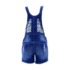Bamboo - Women's Lace Insert Shortall Jumpsuit - Medium Blue - V.I.M. - 2