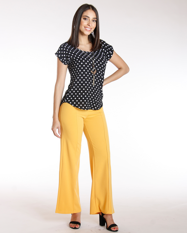 Big Button Flare Leg Crepe Pant - Yellow
