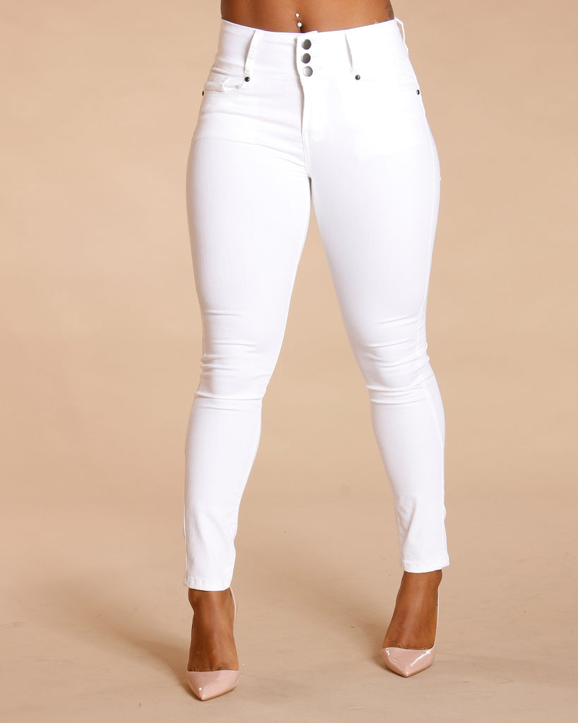 Three Button Colombian Jeans - White