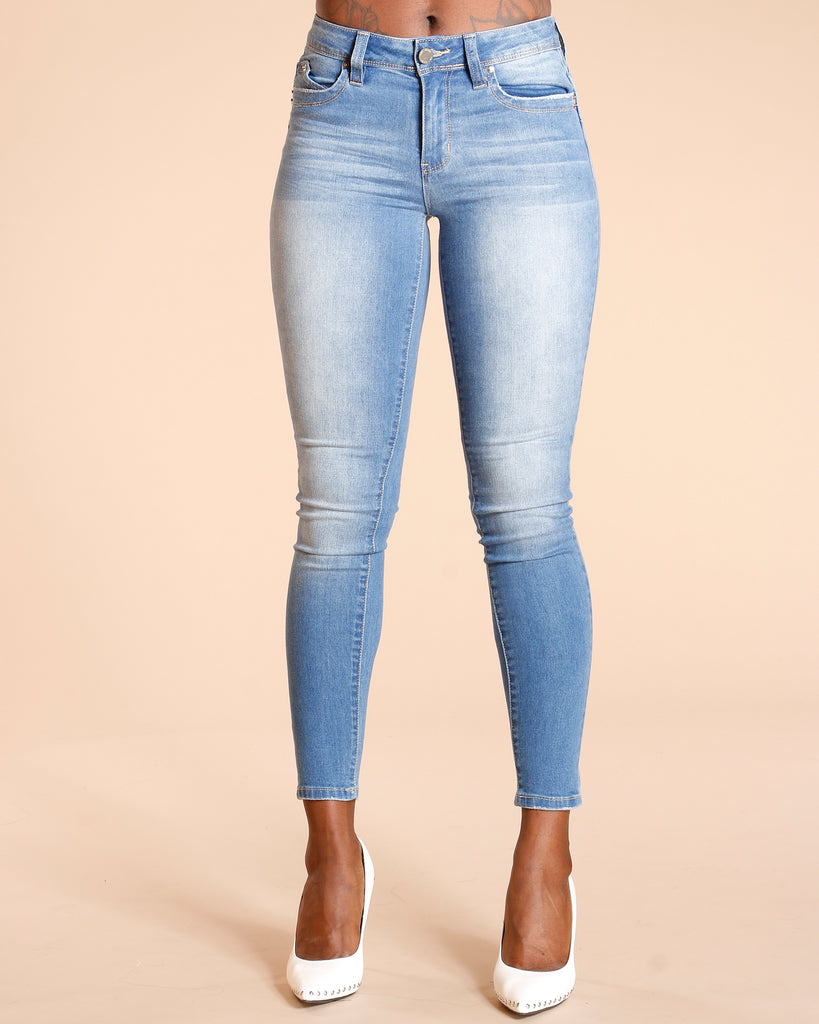 YMI Mid Rise Betta Butt Skinny Jean - Medium Blue - ShopVimVixen.com