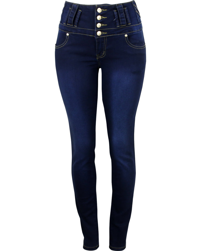 Bamboo - Women's Four Button Rhinestone Trim Push Up Jeans - V.I.M. - 1