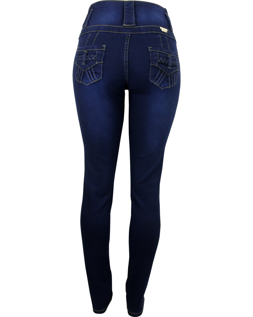 Bamboo - Women's Four Button Rhinestone Trim Push Up Jeans - V.I.M. - 2