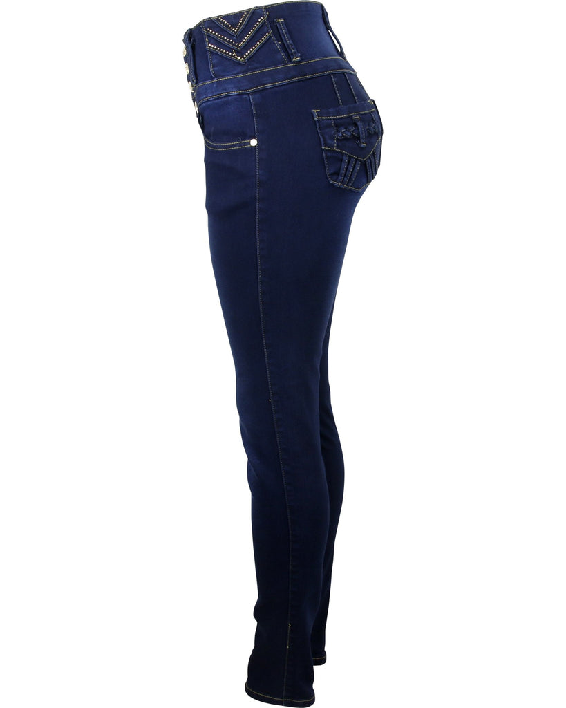 Bamboo - Women's Four Button Rhinestone Trim Push Up Jeans - V.I.M. - 3