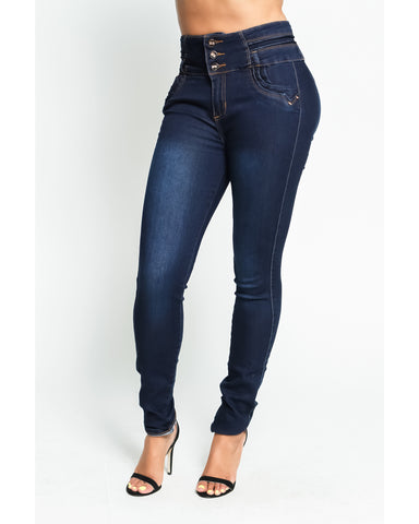 Three Button Push Up Jeans