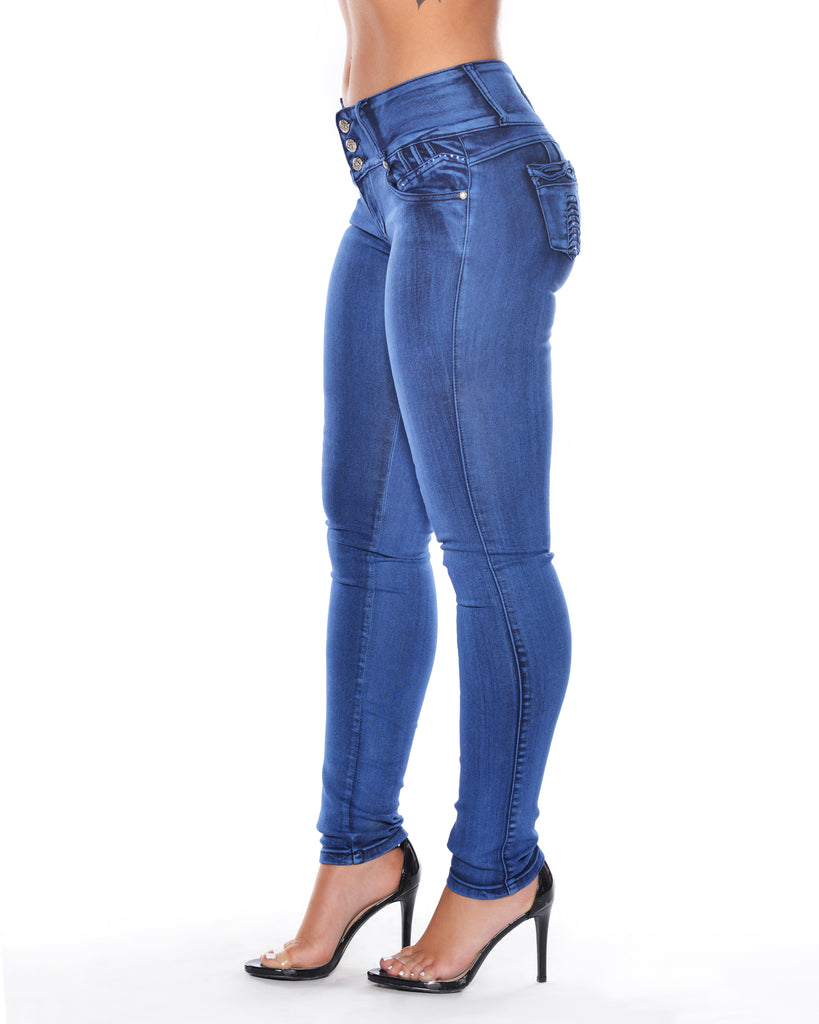 Three Button Decorative Pocket Jeans