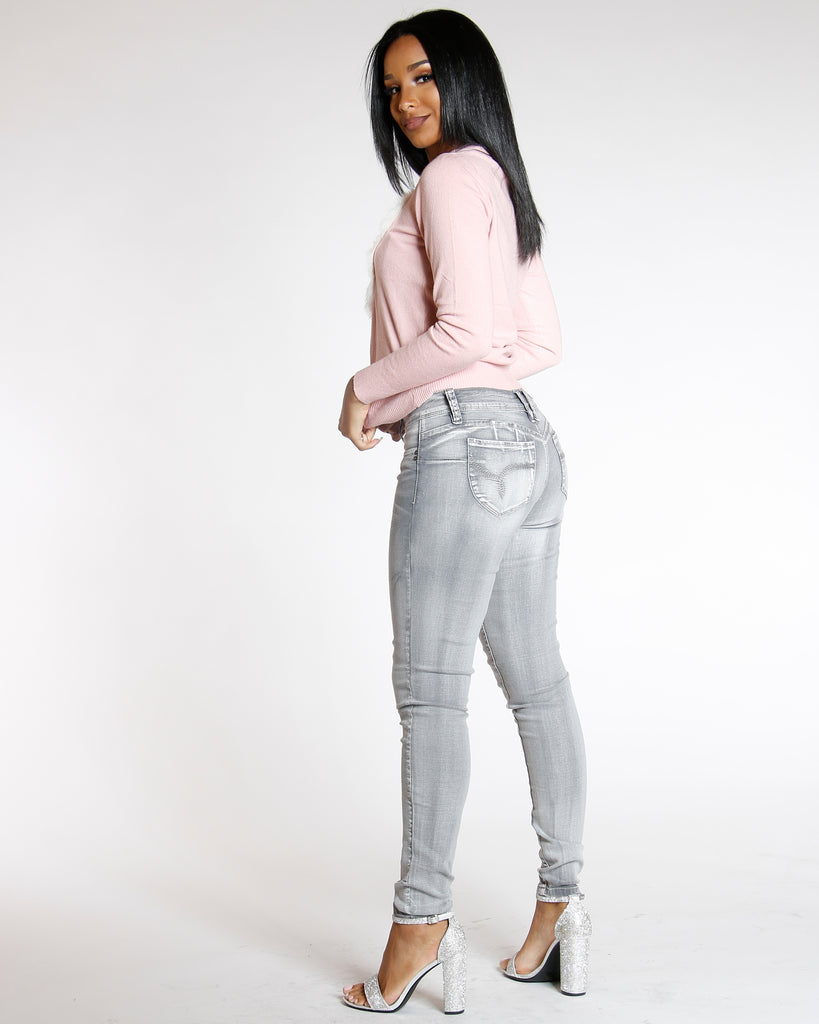YMI Wanna Betta Butt Basic Skinny Jean - Grey - ShopVimVixen.com