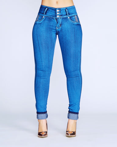 Make Me Weak Columbian Jeans - Dark Blue