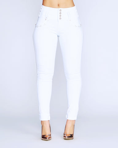 Make Me Weak Columbian Jeans - White