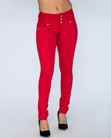 Three Button Columbian Jeans - Red