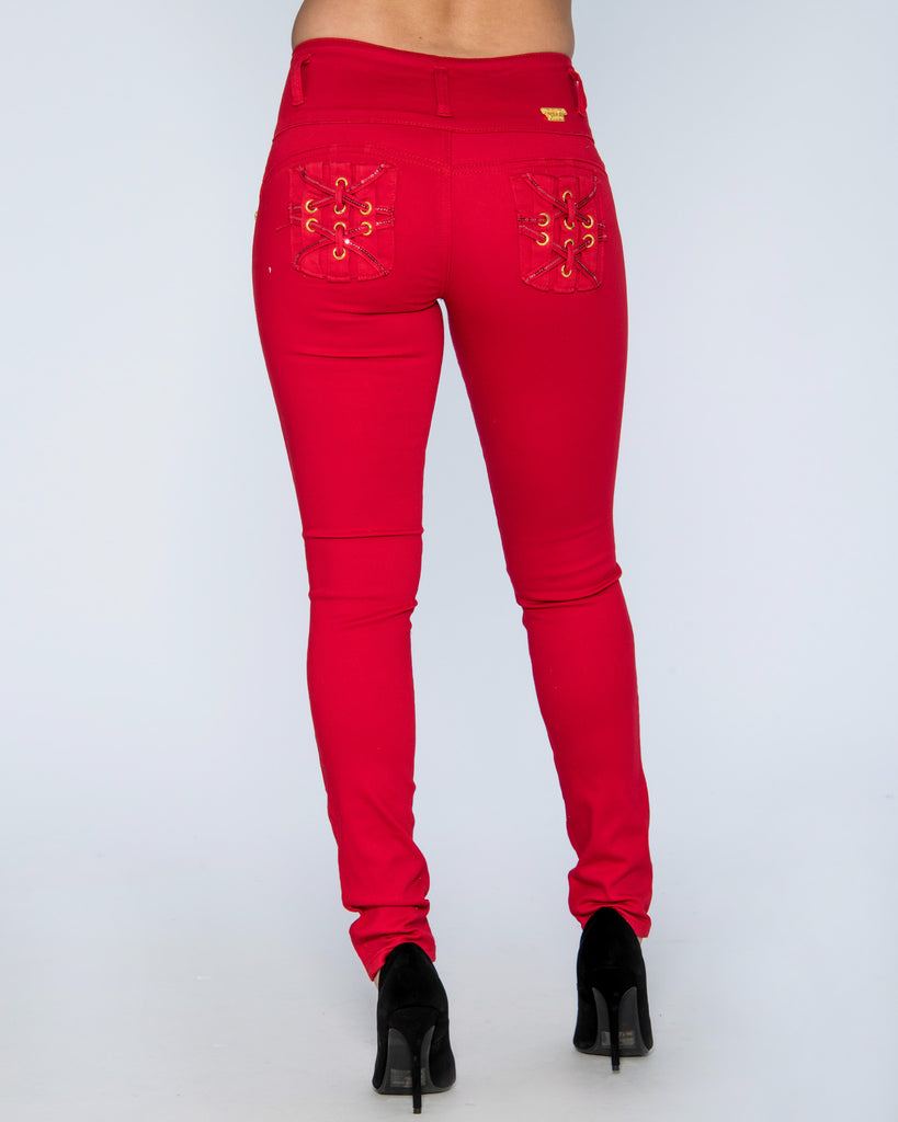 VIM VIXEN Three Button Columbian Jeans - Red - ShopVimVixen.com