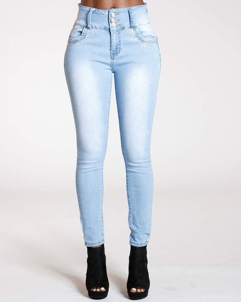 VIM VIXEN Three Button Rhinestone Jeans - Light Blue - ShopVimVixen.com