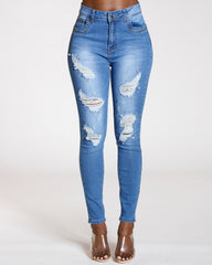VIM VIXEN Ripped Studs And Pearls Push Up Jeans - Medium Blue - ShopVimVixen.com