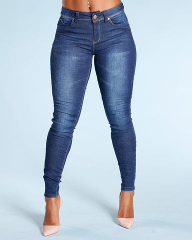 Colombian Push Up Jeans - Dark Blue