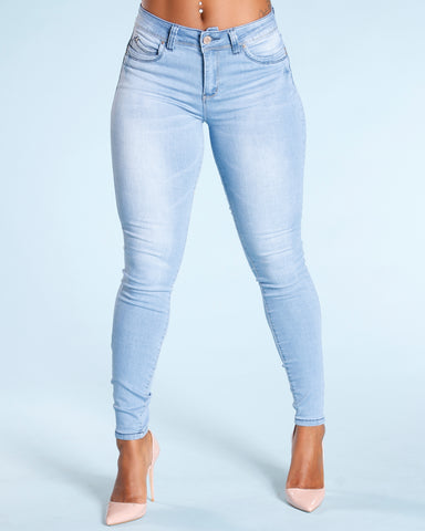 Colombian Push Up Jeans - Light Blue