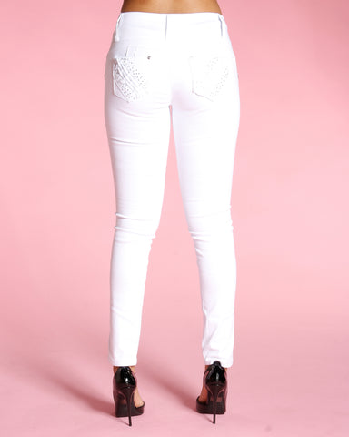 Three Button Push Up Jeans - White