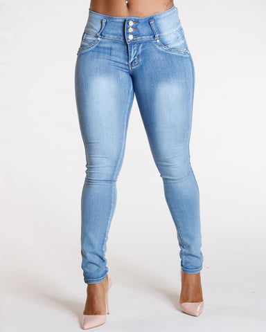 Three Button Push Up Jeans - Blue