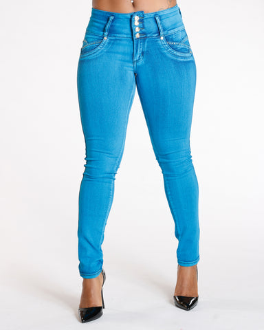 Four Button Push Up Jeans - Teal