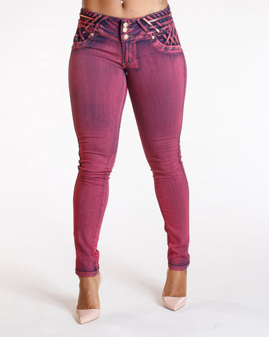 Three Button Push Up Jeans - Burgundy