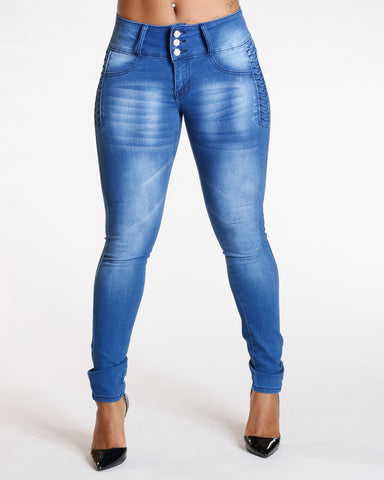 Three Button Push Up Jeans - Medium Blue