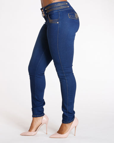 Three Button Push Up Jeans - Dark Blue