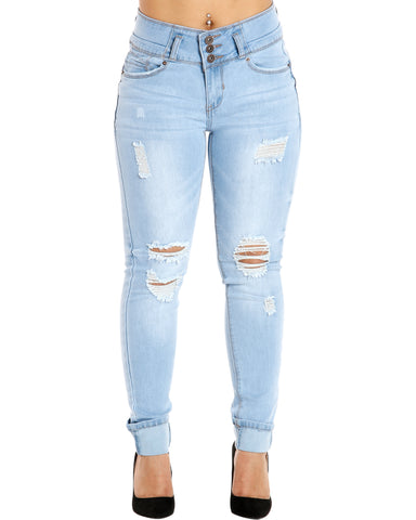 REGINA THREE BUTTON RIPPED ROLL CUFF JEANS