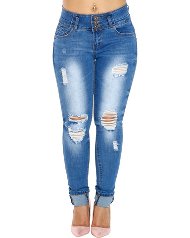 RASHANA THREE BUTTON RIPPED ROLL CUFF JEANS