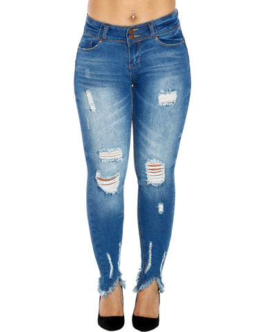NAYLA TWO BUTTON FRAY BOTTOM JEANS