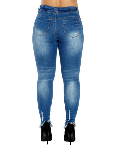 NAYLA TO BUTTON FRAY BOTTOM JEANS