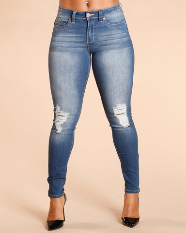 Ripped Colombian Jeans - Dark Blue