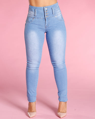 Colombian Three Button Jeans - Light Blue