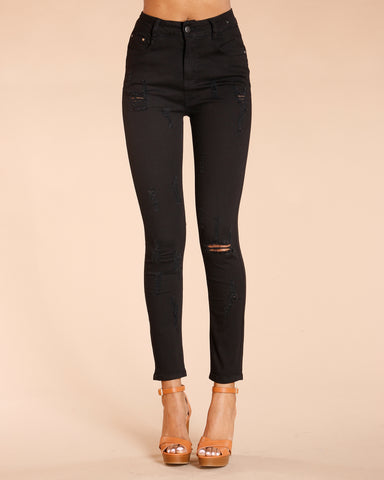 One Button Colombian Jeans - Black