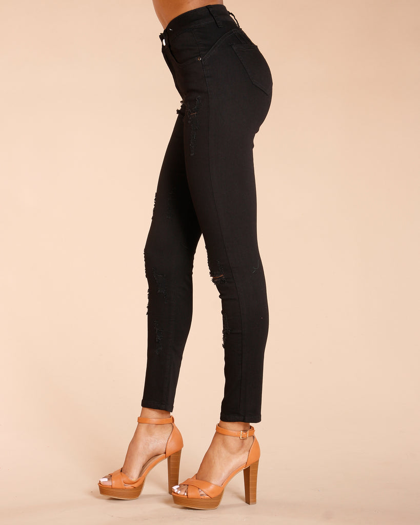 VIM VIXEN One Button Colombian Jeans - Black - ShopVimVixen.com