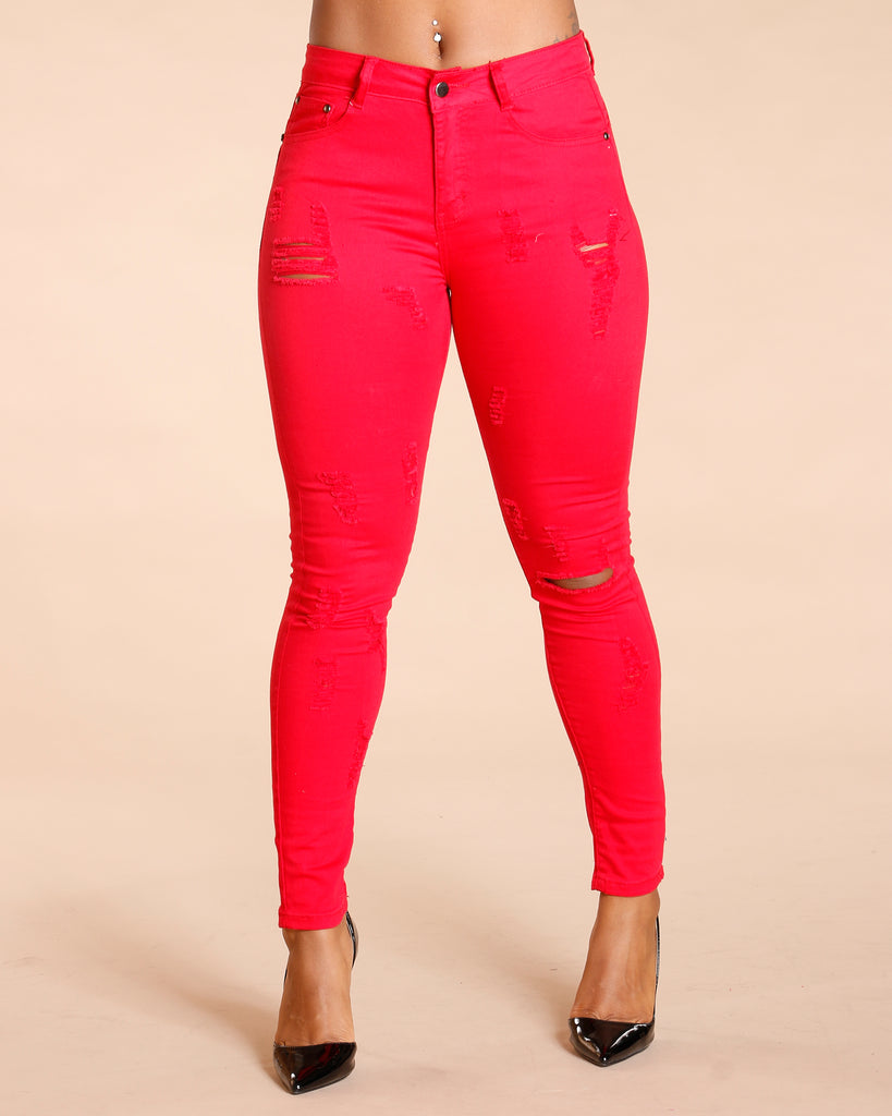 ONE BUTTON RIPPED COLOMBIAN JEANS - RED