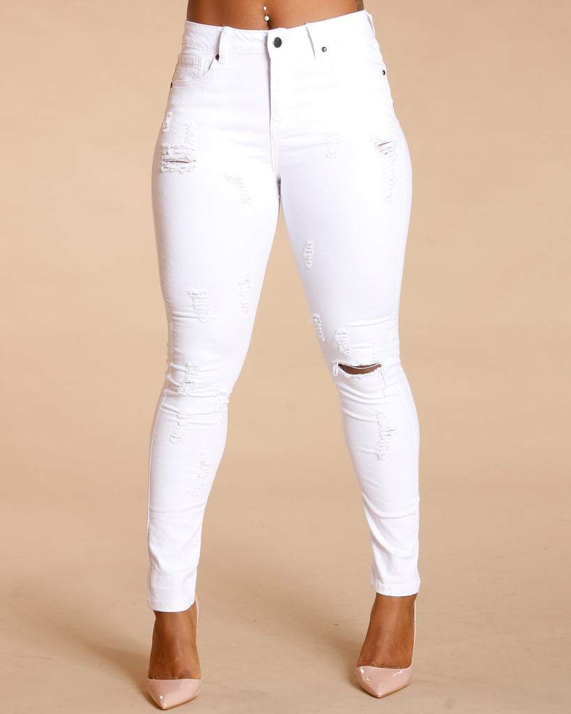 One Button Ripped Colombian Jeans - White