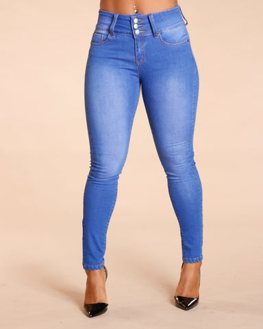 THREE BUTTON COLOMBIAN JEANS - BLUE