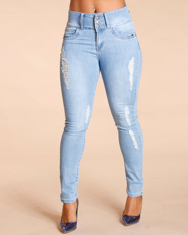 THREE BUTTON COLOMBIAN JEANS - LIGHT BLUE