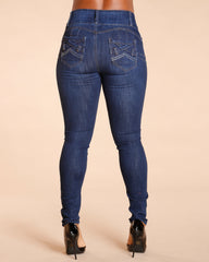 Three Button Colombian Jeans - Dark Blue
