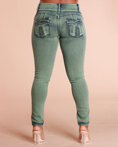 Olive Three Button Colombian Jeans