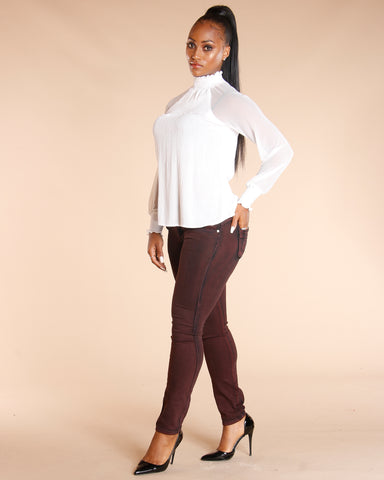 Burgundy Three Button Colombian Jeans