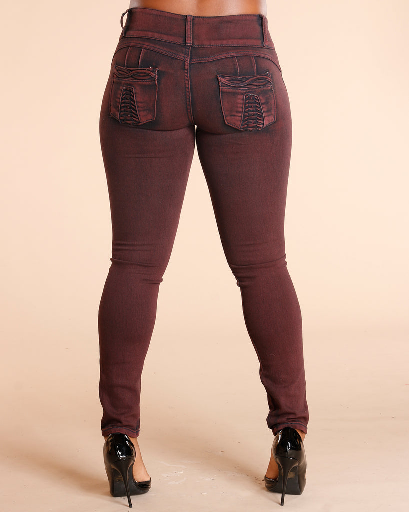 VIM VIXEN Burgundy Three Button Colombian Jeans - ShopVimVixen.com
