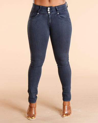 Dark Grey Three Button Colombian Jeans