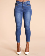 Whiskering Colombian Jeans - Dark Blue