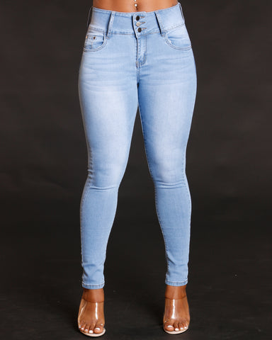 Women's Light Denim Three Button Colombian Jeans - Vim Vixen - Remy Ma